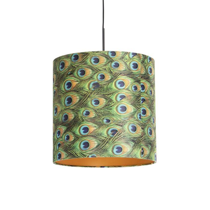 Lámpara-colgante-pantalla-terciopelo-pavo-real-oro-40cm-COMBI