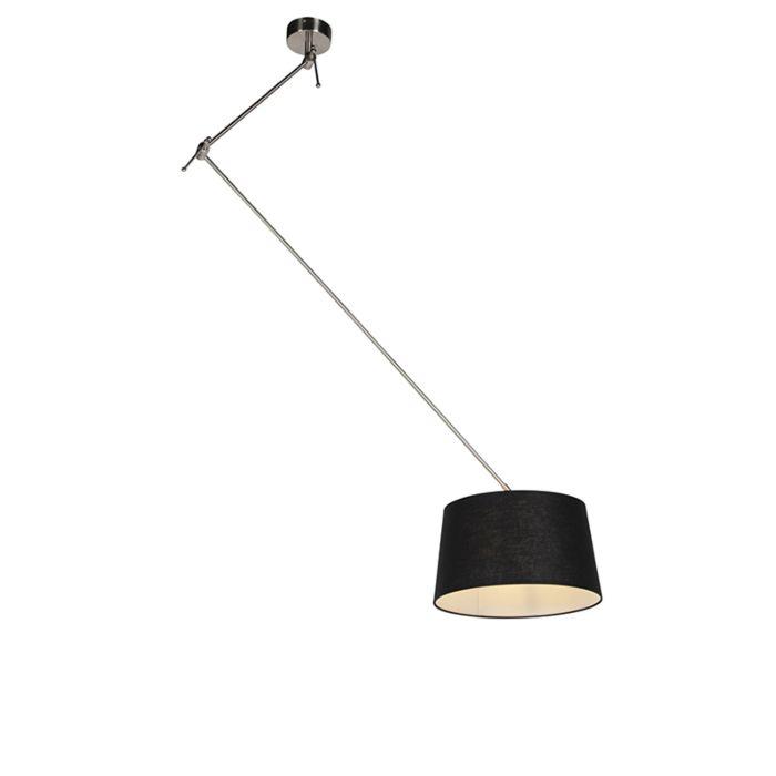 Lámpara-colgante-con-pantalla-de-lino-negro-35-cm---Blitz-I-acero