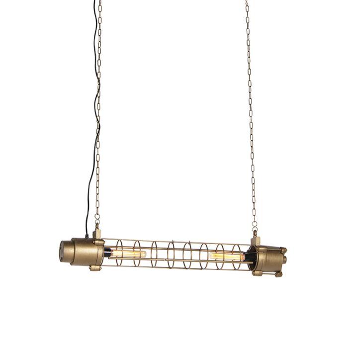 Lámpara-colgante-industrial-dorado-envejecido---FUZE