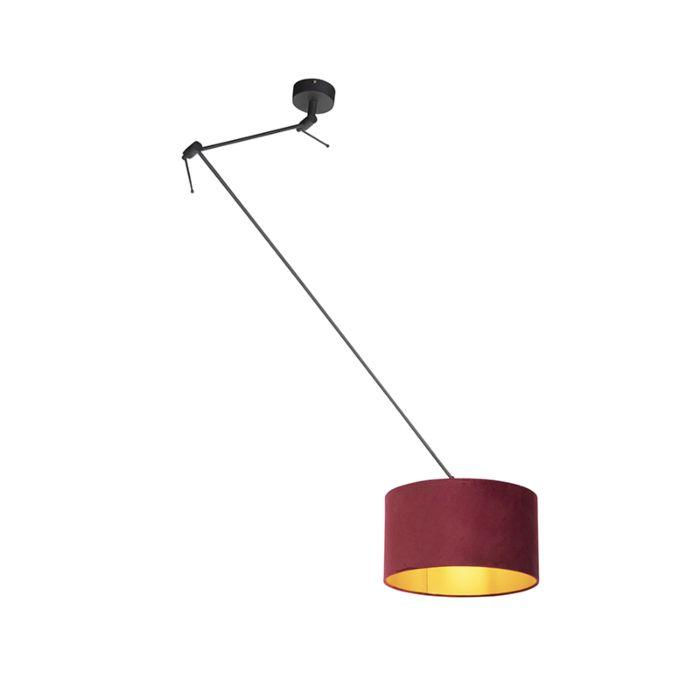 Lámpara-colgante-con-pantalla-de-terciopelo-rojo-con-oro-35-cm---Blitz-I-negro