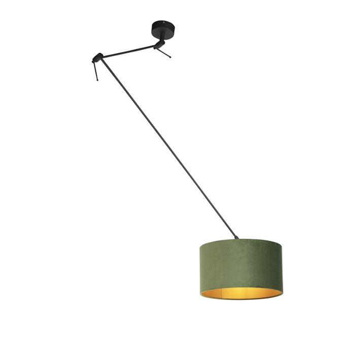 Lámpara-colgante-con-pantalla-de-terciopelo-verde-con-oro-35-cm---Blitz-I-negro