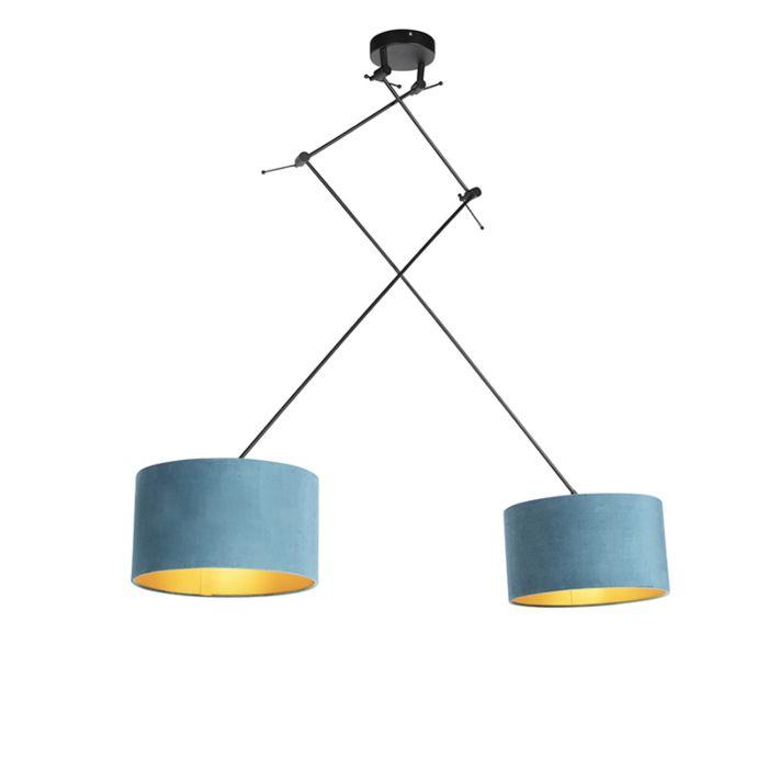 Lámpara-colgante-con-pantallas-de-terciopelo-azul-con-oro-35-cm---Blitz-II-negro