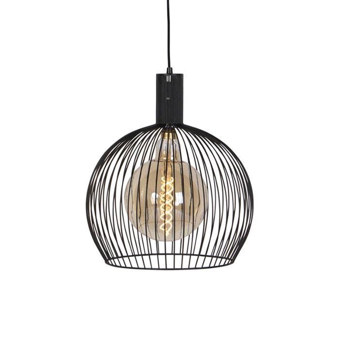 Lámpara-colgante-redonda-moderna-negra-40-cm---Alambre