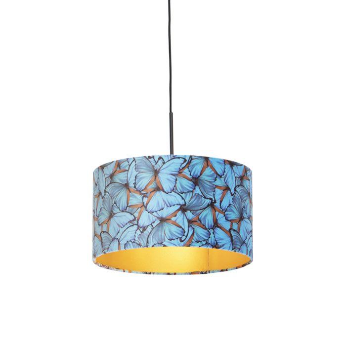 Lámpara-colgante-pantalla-terciopelo-mariposas-int.-dorado-35cm---COMBI