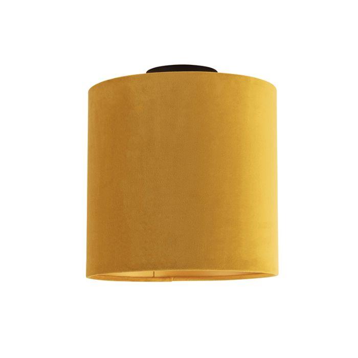 Plafón-negro-pantalla-terciopelo-ocre-dorado-25cm---COMBI-