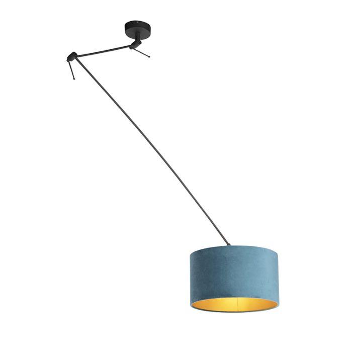 Lámpara-colgante-con-pantalla-de-terciopelo-azul-con-oro-35-cm---Blitz-I-negro