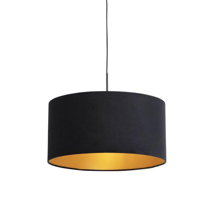 Lámpara-colgante-pantalla-terciopelo-negro-oro-50cm--COMBI