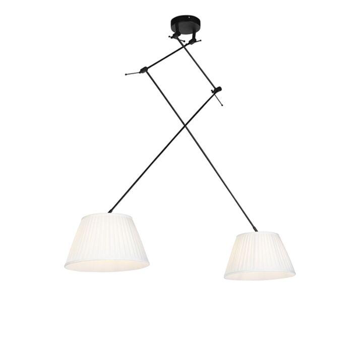 Lámpara-colgante-con-pantallas-plisadas-crema-35-cm---Blitz-II-negro
