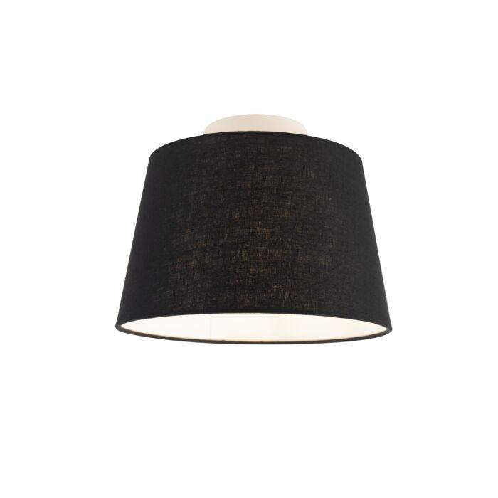 Lámpara-de-techo-con-pantalla-de-lino-negro-25-cm---Combi-blanco