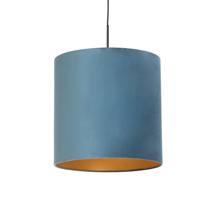 Lámpara-colgante-con-pantalla-de-terciopelo-azul-con-oro-40-cm---Combi