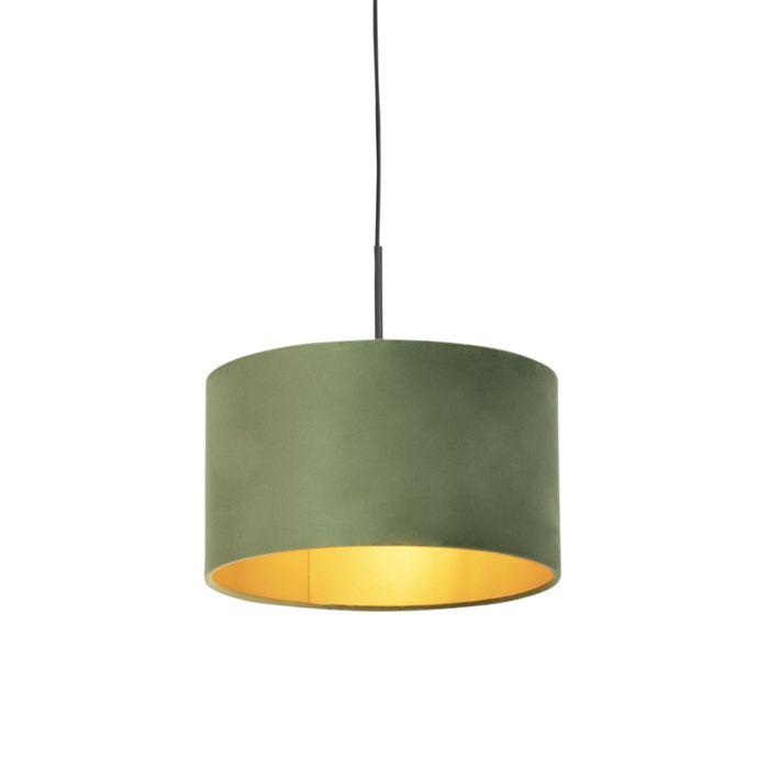 Lámpara-colgante-pantalla-terciopelo-verde-oro-35cm---COMBI