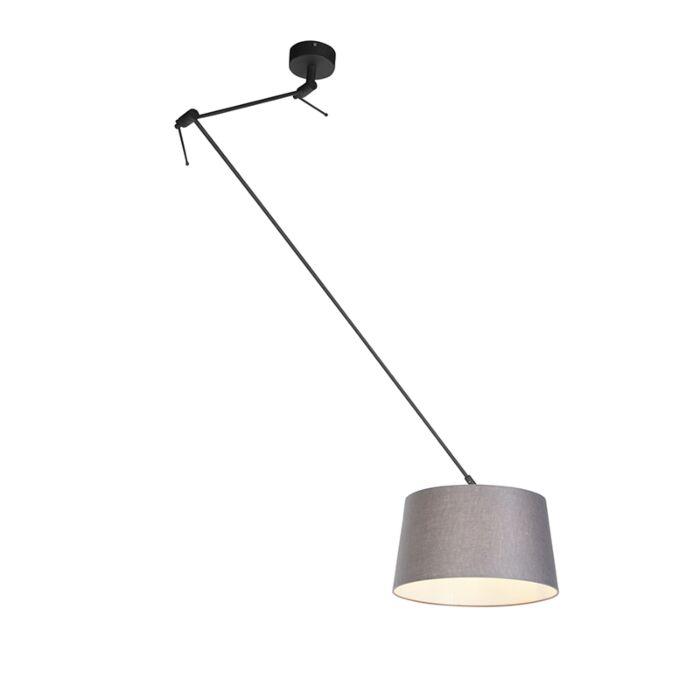 Lámpara-colgante-con-pantalla-de-lino-gris-oscuro-35-cm---Blitz-I-negro