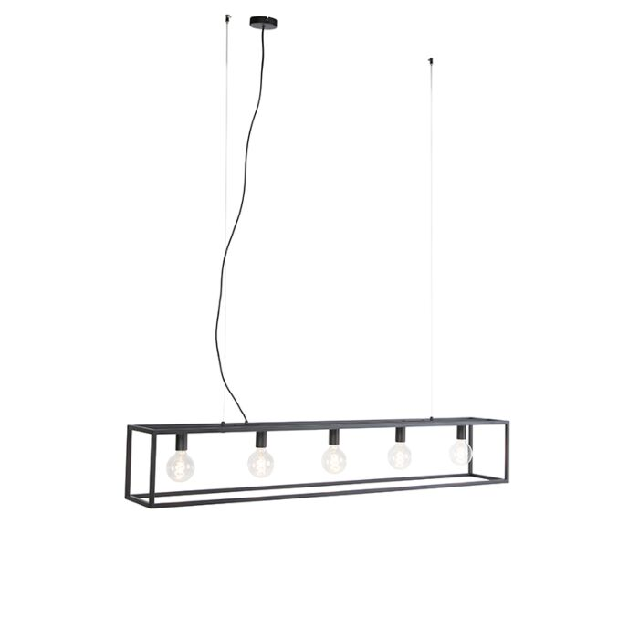 Moderna-lámpara-colgante-rectangular-negra-5-luces---Jaula