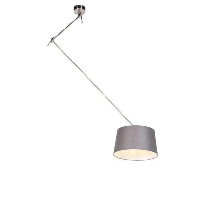 Lámpara-colgante-con-pantalla-de-lino-gris-oscuro-35-cm---Blitz-I-acero