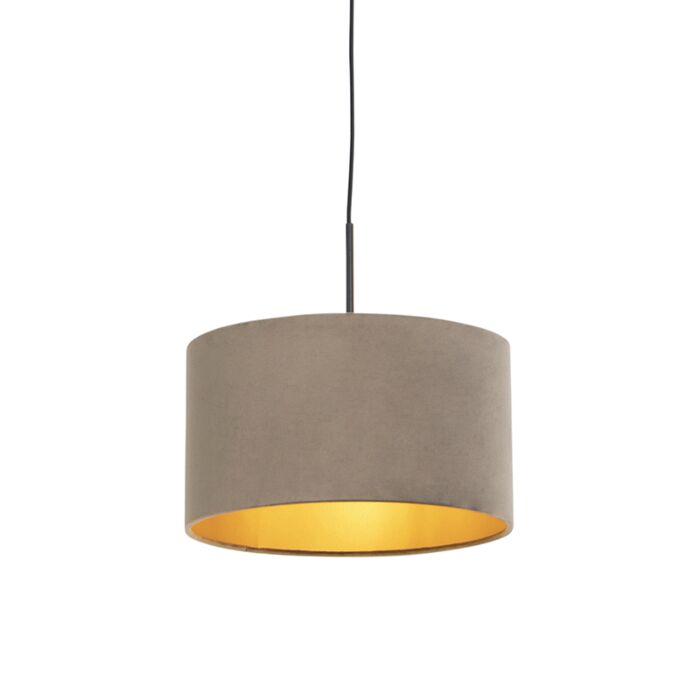 Lámpara-colgante-pantalla-terciopelo-taupe-oro-35cm---COMBI