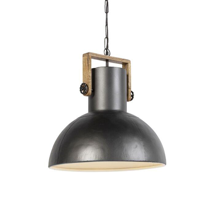 Lámpara-colgante-industrial-negra-con-mango-de-madera---Mangos