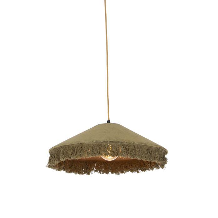 Lámpara-colgante-retro-terciopelo-verde-flecos---FRILLS