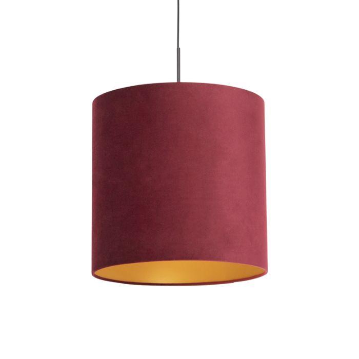 Lámpara-colgante-pantalla-terciopelo-roja-oro-40cm---COMBI
