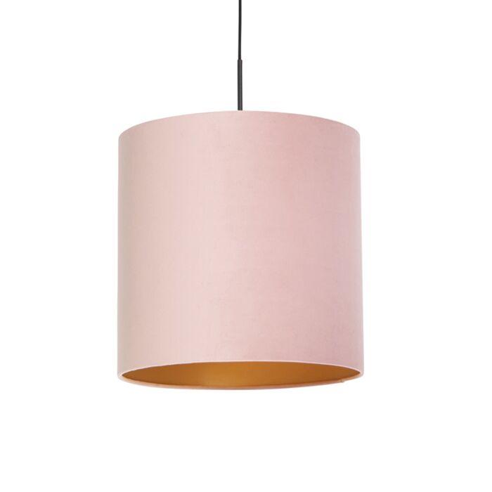 Lámpara-colgante-pantalla-terciopelo-rosa-oro-40cm---COMBI