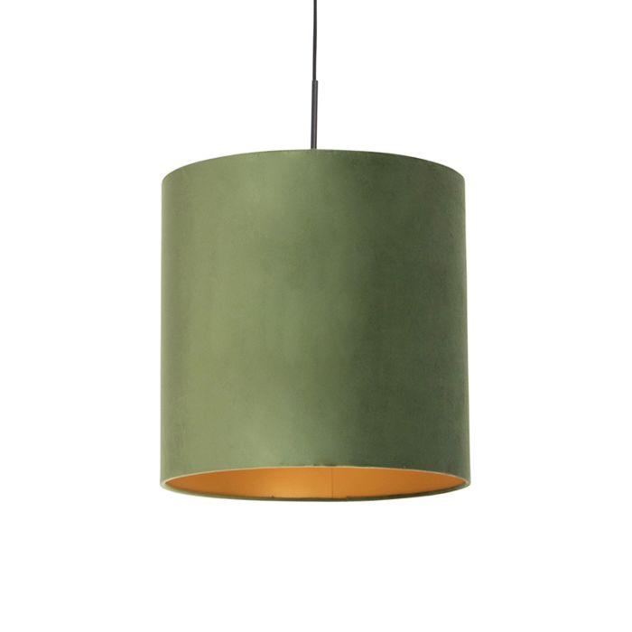 Lámpara-colgante-pantalla-terciopelo-verde-oro-40cm---COMBI