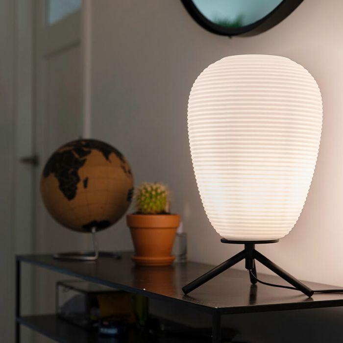 Lámpara-de-mesa-de-diseño-cristal-negro-24-cm-con-cristal-opal---Hero