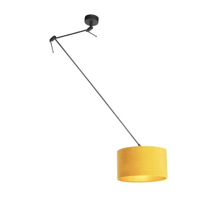 Lámpara-colgante-con-pantalla-de-terciopelo-ocre-con-oro-35-cm---Blitz-I-negro