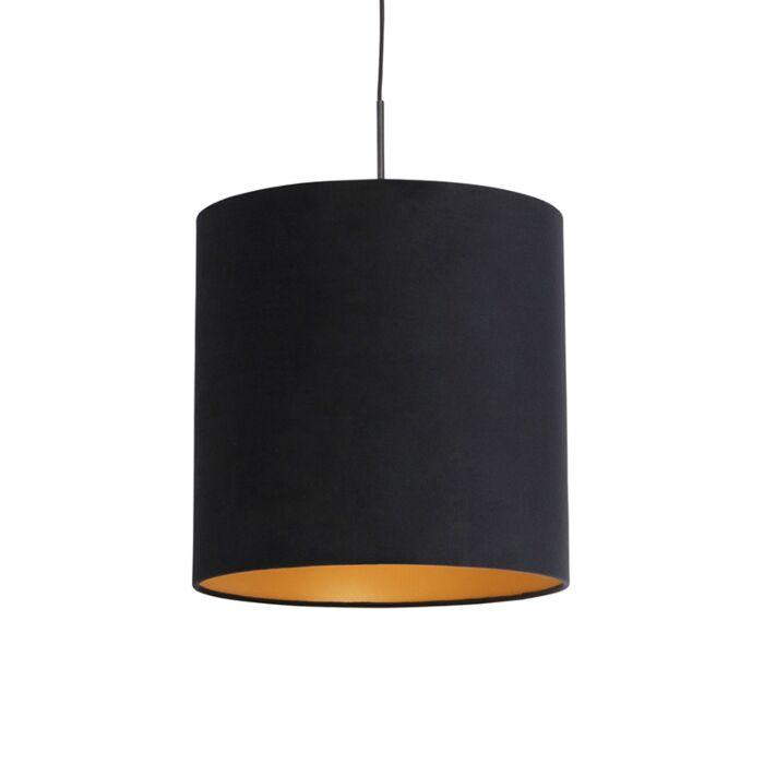 Lámpara-colgante-pantalla-terciopelo-negro-int.-dorado-40cm---COMBI