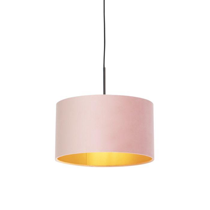 Lámpara-colgante-pantalla-terciopelo-rosas-oro-35cm---COMBI