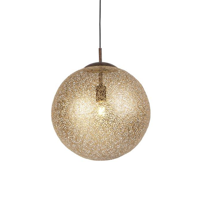 Lámpara-colgante-rústica-40cm-LED-redonda-óxido---KRETA