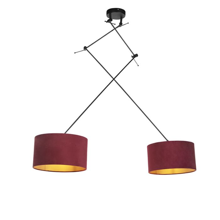 Lámpara-colgante-con-pantallas-de-terciopelo-rojo-con-oro-35-cm---Blitz-II-negro