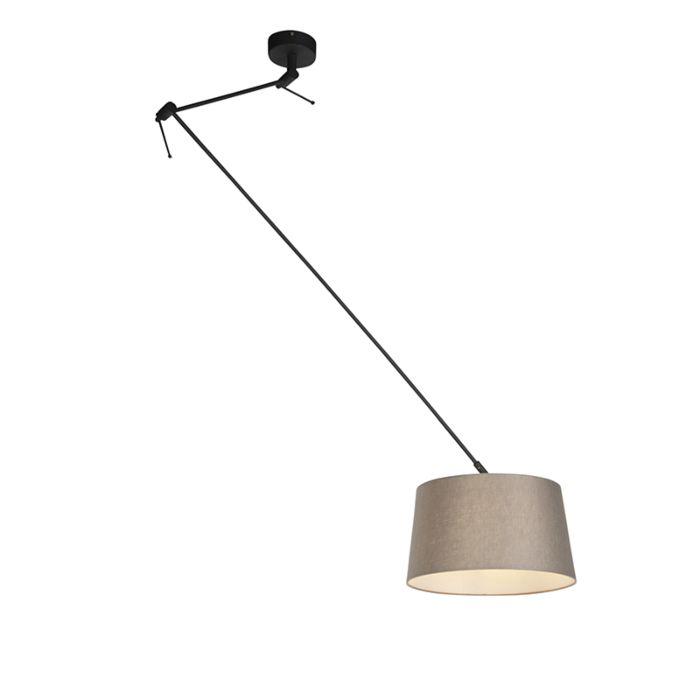 Lámpara-colgante-con-pantalla-de-lino-gris-topo-35-cm---Blitz-I-negro
