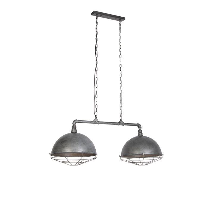 Lámpara-colgante-industrial-plata-antigua-2-luces---Course