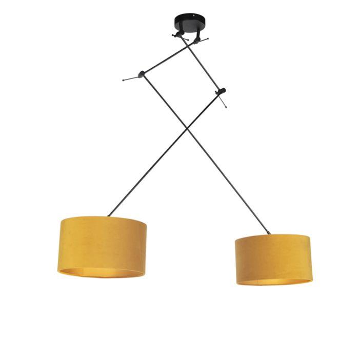 Lámpara-colgante-con-pantallas-de-terciopelo-ocre-con-oro-35-cm---Blitz-II-negro