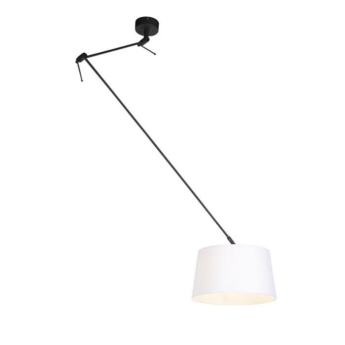 Lámpara-colgante-con-pantalla-de-lino-blanco-35-cm---Blitz-I-negro