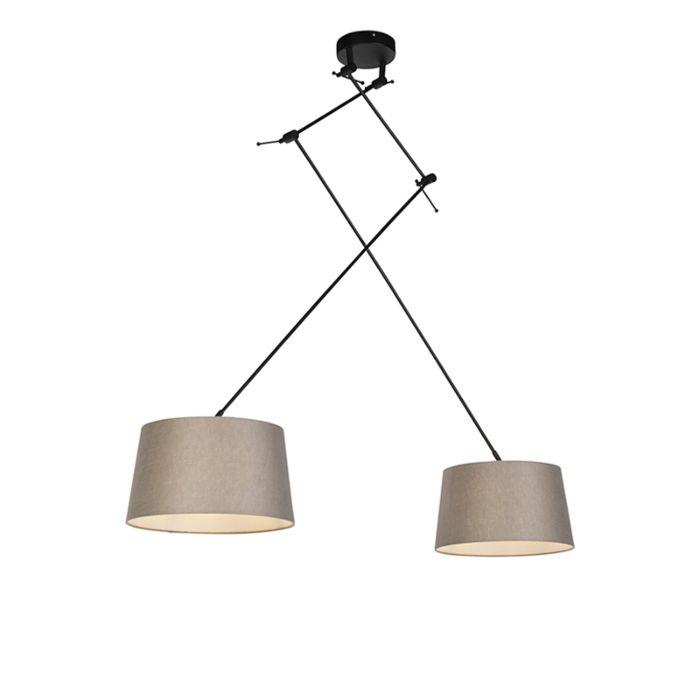 Lámpara-colgante-con-pantallas-de-lino-gris-topo-35-cm---Blitz-II-negro