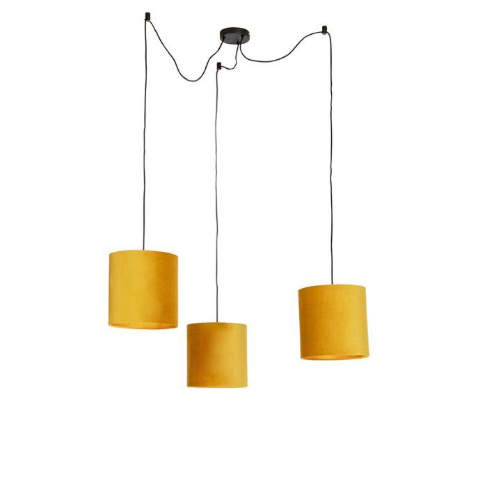 Lámpara-colgante-con-3-pantallas-de-terciopelo-amarillo-con-oro---Cava