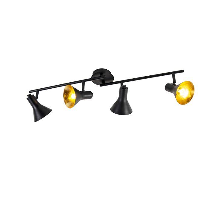 Moderno-spot-negro-con-oro-4-luces---Magno