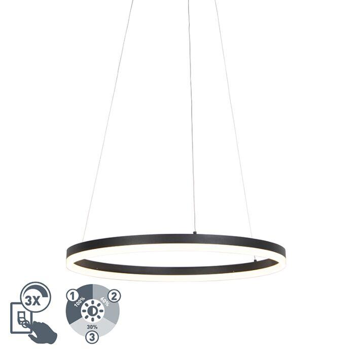 Lámpara-colgante-de-diseño-de-anillo-negro-60cm-con-LED-y-dimmer---Anello