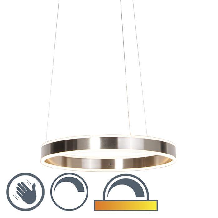 Lámpara-colgante-moderna-de-acero-con-LED-de-60-cm-de-tenue-a-cálido---Ollie