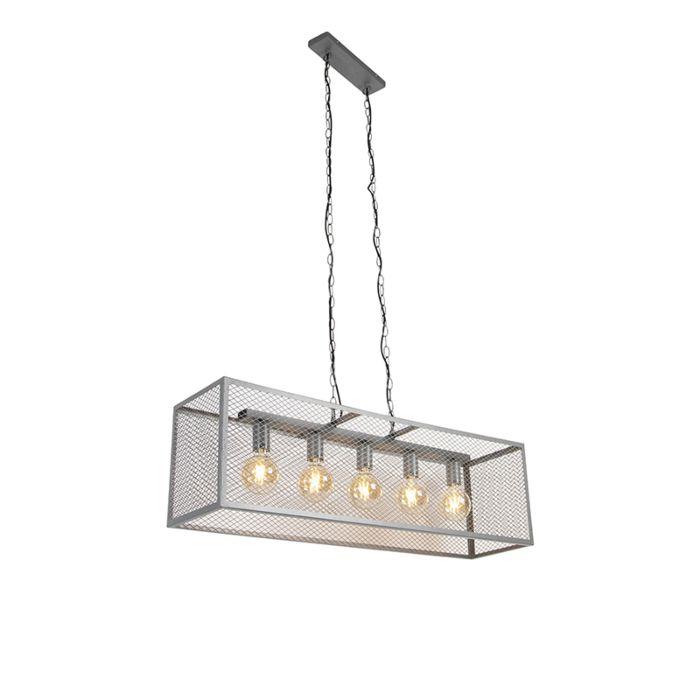 Lámpara-colgante-industrial-plata-antigua-5-luces---Jaula-Robusto