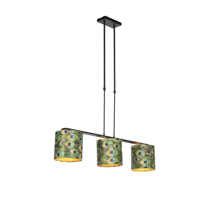 Lámpara-colgante-terciopelo-pavo-real-interno-dorado---COMBI-3-DELUXE