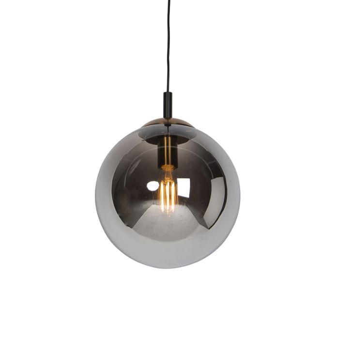 Lámpara-colgante-art-deco-negra-con-cristal-ahumado-30-cm---Pallon-Bulla