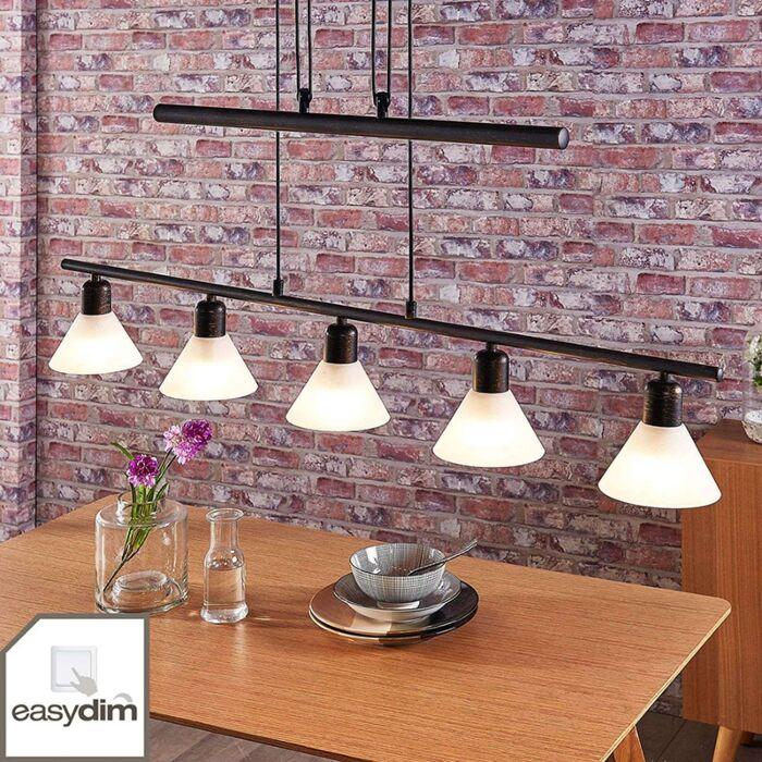Lámpara-colgante-oro-negro-regulador-5-x-E14---ELEASA
