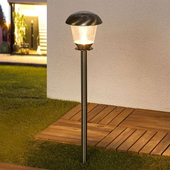 Lámpara-de-exterior-clásica-en-acero-inoxidable-LED-a-energía-solar---Nela