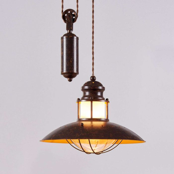 Lámpara-colgante-industrial-marrón-óxido-ajustable---Louisanne