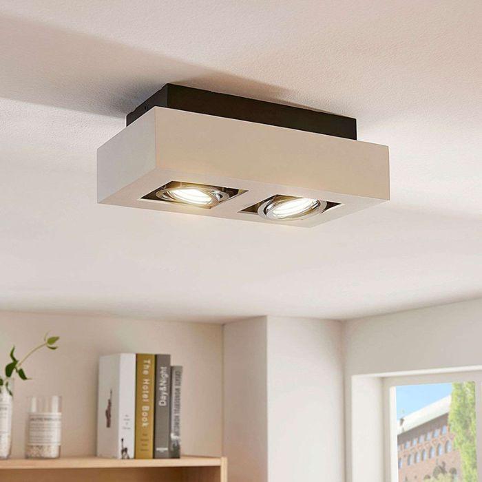 Plafón-moderno-blanco-GU10-2-luces-orientable---VINCE