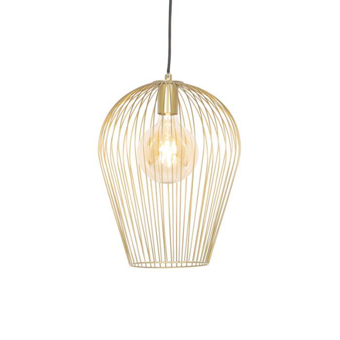 Lámpara-colgante-de-diseño-dorada---Alambre-Ario