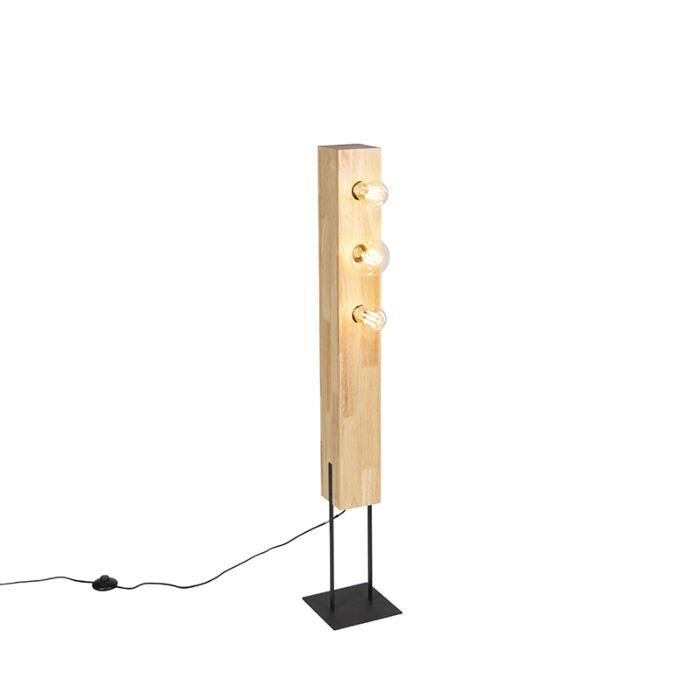 Lámpara-de-pie-rústica-negra-madera-3-luces---SEMA