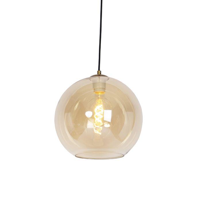 Lámpara-colgante-Art-Deco-latón-vidrio-ámbar-30cm---PALLOT