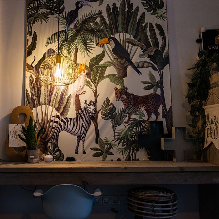 Lámpara-colgante-de-diseño-dorada---Alambre-Masa